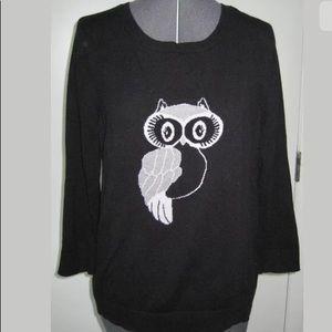 APT. 9 COTTON SWEATER BLACK WHITE OWL SILVER M